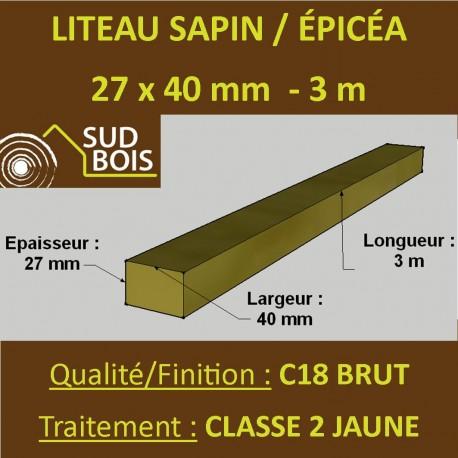 Botte de 12 Liteaux 27x40mm Sapin / Épicéa Brut Traité Classe 2 Jaune 3m