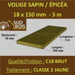 Volige Calibrée 18x150 Sapin / Épicéa Brut Traité Classe 2 Jaune 3m