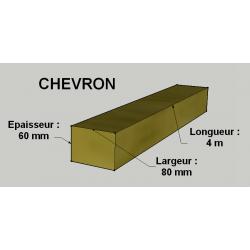 Chevron 60x80mm Sapin / Épicéa Brut Traité Classe 2 Jaune 4m