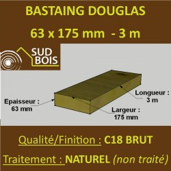 Bastaing / Madrier 63x175 Douglas Naturel Sec Brut Qualité Charpente 3m