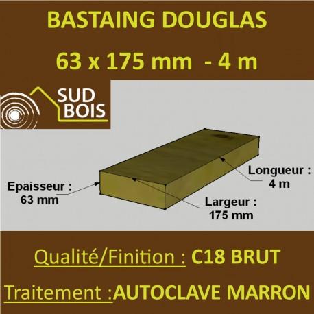 Bastaing / Madrier 63x175 Douglas Autoclave Marron Brut 4M