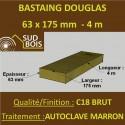 Bastaing / Madrier 63x175 Douglas Autoclave Marron Sec Brut Qualité Charpente 4m
