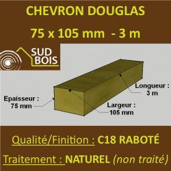 Chevron 75x105mm Douglas Naturel Raboté 3M