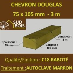 Chevron 75x105mm Douglas Autoclave Marron Sec Raboté Qualité Charpente 3m