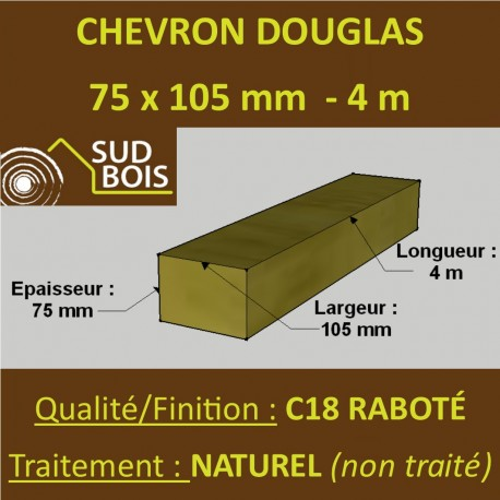 Chevron 75x105mm Douglas Naturel Raboté 4M