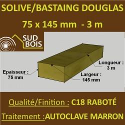 Solive / Bastaing 75x145 Douglas Autoclave Marron Sec Raboté Qualité Charpente 3m