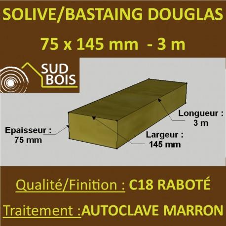 Solive / Bastaing 75x145mm Douglas Raboté Autoclave Marron 3m