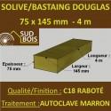 Solive / Bastaing 75x145mm Douglas Raboté Autoclave Marron 4m