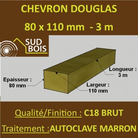 Chevron 80x110mm Douglas Autoclave Marron Brut 3M