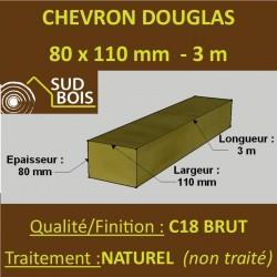 Chevron 80x110 Douglas Naturel Sec Brut Qualité Charpente 3m