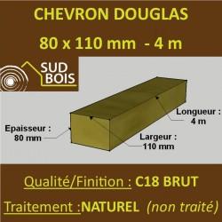 Chevron 80x110 Douglas Naturel Sec Brut Qualité Charpente 4m