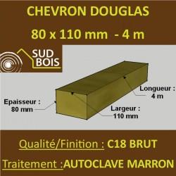 Chevron 80x110 Douglas Autoclave Marron Sec Brut Qualité Charpente 4m