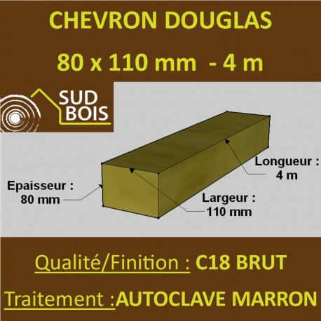 Chevron 80x110mm Douglas Autoclave Marron Brut 4M