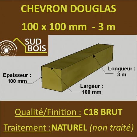 Chevron 100x100mm Douglas Naturel Brut 3M