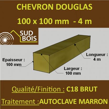 Chevron 100x100mm Douglas Autoclave Marron Brut 4M