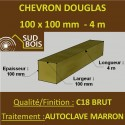 Chevron 100x100 Douglas Autoclave Marron Sec Brut Qualité Charpente 4m