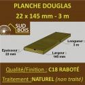 Planche 21x145 mm Douglas Naturel Raboté avec les 4 angles Arrondis Déclassé (Choix 2-3) 3m