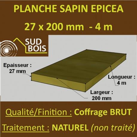 Planche Calibrée 27x200mm Sapin / Épicéa Brut Naturel 4M