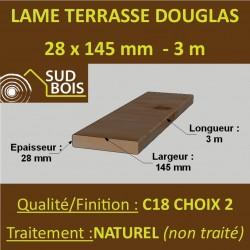 * Lame Terrasse FIGARO 27x145mm Douglas Naturel Striée 2ème Choix en 3m