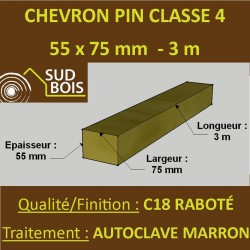 Chevron Lambourde 55X75mm Pin Autoclave Marron Cl.4 Raboté 3M