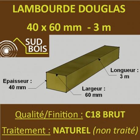 Lambourde / Tasseau 60x40mm Douglas Naturel 3m