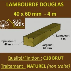 Lambourde / Tasseau 60x40 Douglas Naturel Sec Brut Qualité Charpente 4m