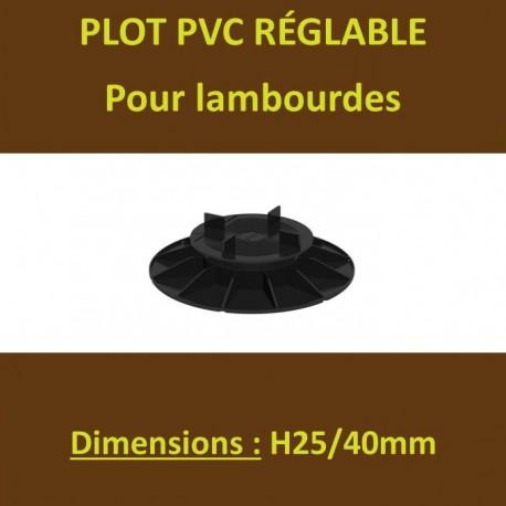 Plot PVC Réglable à Vérins pour Lambourdes Terrasse Bois H25/40mm