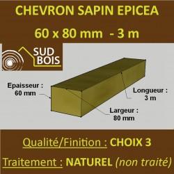 140 Chevrons 60x80mm Sapin Choix 3 Naturel Brut 3M