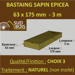 * Bastaing 63x175mm Sapin Choix 3 Naturel Brut 3M