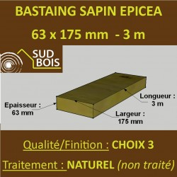 * 60 Bastaings 63x175mm Sapin Choix 3 Naturel Brut 3M