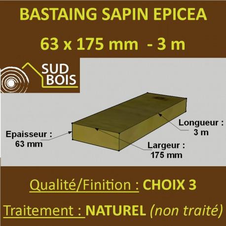 60 Bastaings 63x175mm Sapin Choix 3 Naturel Brut 3M