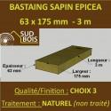 * ↕ 60 Bastaings 63x175mm Sapin Choix 3 Naturel Brut 3M