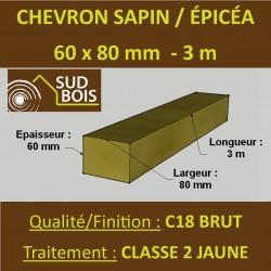 * ↕ 140 Chevrons 60x80mm Sapin / Épicéa Brut Traité Classe 2 Jaune 3m