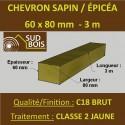 140 Chevrons 60x80mm Sapin / Épicéa Brut Traité Classe 2 Jaune 3m
