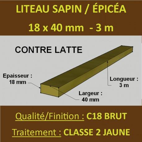 16 Liteaux ( Latte ) 18x40mm Sapin / Épicéa Brut Traité Classe 2 Jaune 3m