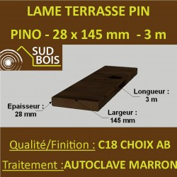 ► Lame Terrasse Striée 27x145mm Pin Autoclave Cl. 4 Marron 3M