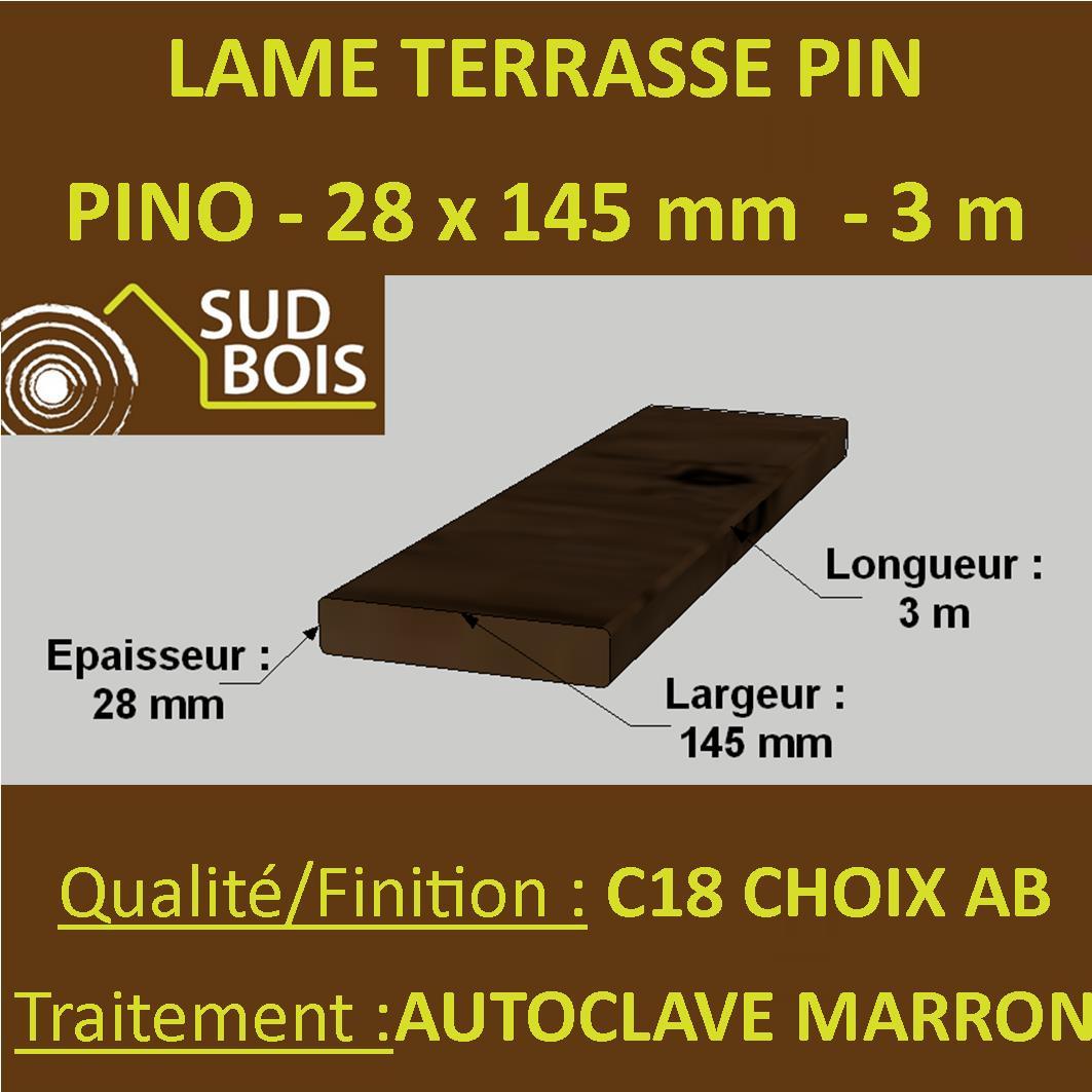 Traitement Terrasse Pin Autoclave lame terrasse striée pino 27x145mm pin autoclave cl. 4