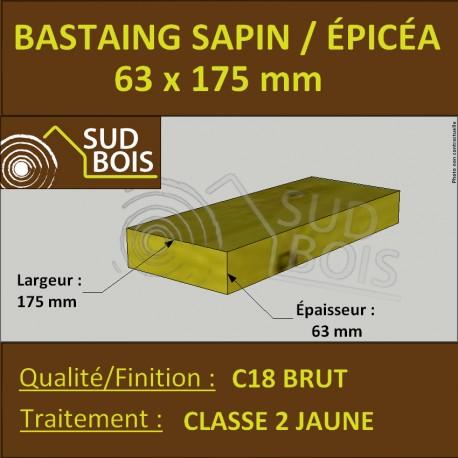Bastaing / Madrier 63x175 Épicéa Brut Traité Classe 2 Jaune