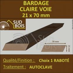 Bardage CLAIRE VOIE Pin Autoclave Classe4 21x70mm Naturel PRIX AU M²