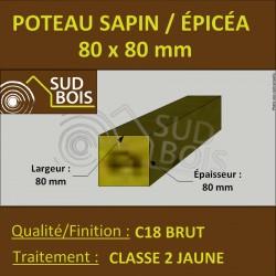 Chevron 80x80mm Sapin/Épicéa Traité Classe 2 Jaune
