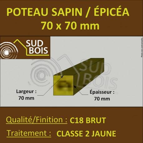 Chevron 70x70mm Sapin/Épicéa Traité Classe 2 Jaune