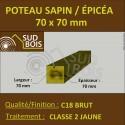 * ↕ ◙ Chevron 70x70 Sapin / Épicéa Classe 2 Jaune (à la palette)