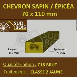 * ↕ ◙ Chevron 70x110 Sapin/Épicéa Traité Classe 2 Jaune (à la palette)