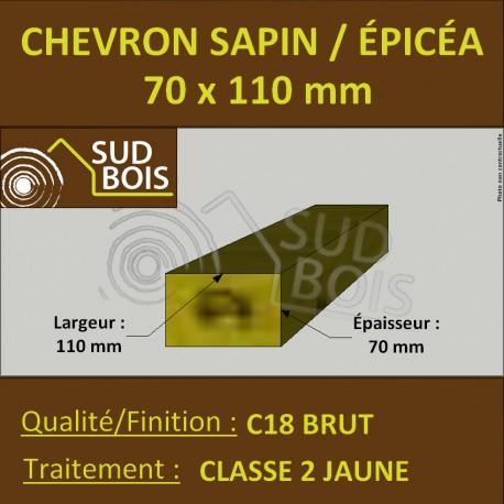 Chevron 70x110mm Sapin/Épicéa Traité Classe 2 Jaune