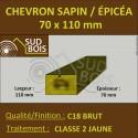 * ↕ Chevron 70x110 Sapin/Épicéa Traité Classe 2 Jaune (à la palette)