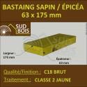 * ↕ Bastaing 63x175 Sapin/Épicéa Traité Classe 2 Jaune (à la palette)