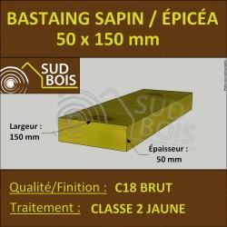 Bastaing 50x150mm Sapin/Épicéa Traité Classe 2 Jaune
