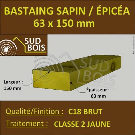 Bastaing 63x150mm Sapin/Épicéa Traité Classe 2 Jaune