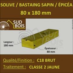 * ↕ ◙ Solive 80x180 Sapin / Épicéa Traité Classe 2 Jaune (à la palette)