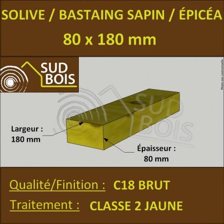 Solive Bastaing 80x180mm Sapin/Épicéa Traité Classe 2 Jaune